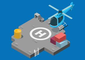 Helicopter Landed on Helipad Isometric Vector Illustration