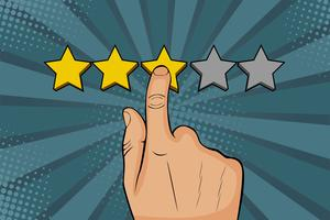 Man points finger at the star, puts rating, recalls as a golden stars. Colorful illustration in pop art retro comic style