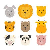 Animal Faces Set Collection Vector