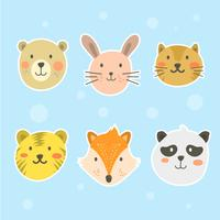 Flat Cute Animal Face Vector Collection