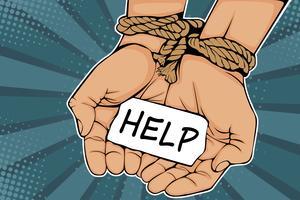 Mãos masculinas amarradas com corda e ajuda da descrição. O conceito de escravidão ou prisioneiro. Ilustração vetorial colorida em estilo quadrinhos retrô pop art