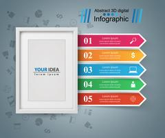 Frame, photo. Five items - paper infographic vector