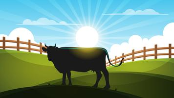 Cow in the meadow - cartoon landscape illustration. vector