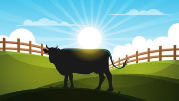 Vaca no prado - ilustração da paisagem dos desenhos animados.