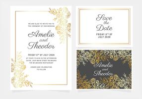Invitation de mariage Floral Vector Or