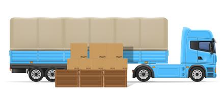 truck semi trailer for transportation of goods concept vector illustration