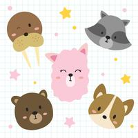 Animals Faces Vector