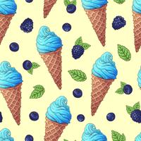 Seamless pattern of Ice cream cone vector illustration