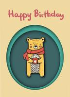 ours heureux mignon tenant une tasse de café papier à dessin coupe carte joyeux anniversaire