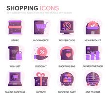 Modern Set Shopping and E-Commerce Gradient Flat Icons for Website and Mobile Apps. Contains such Icons as Delivery, Payment Method, Store, Commerce. Conceptual color flat icon. Vector pictogram pack.