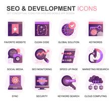 Modern Set Seo and Development Gradient Flat Icons for Website and Mobile Apps. Contains such Icons as Clean Code, Data Protection, Monitoring. Conceptual color flat icon. Vector pictogram pack.