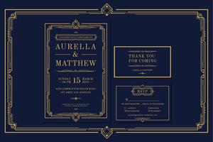 Compromiso Art Deco Premium Vintage estilo clásico / invitación de boda