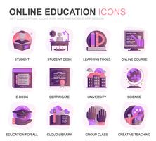 Modern Set Education and Knowledge Gradient Flat Icons for Website and Mobile Apps. Contains such Icons as Online Course, University, Studying, Book. Conceptual color flat icon. Vector pictogram pack.