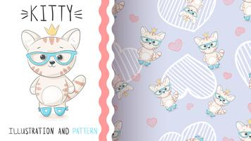 Cute princess kitty - seamless pattern