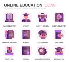 Modern Set Education and Knowledge Gradient Flat Icons for Website and Mobile Apps. Contains such Icons as Studying, School, Graduation, E-Book. Conceptual color flat icon. Vector pictogram pack.