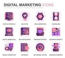 Modern Set Business and Marketing Gradient Flat Icons for Website and Mobile Apps. Contains such Icons as Digital Strategy, Global Solution, Market. Conceptual color flat icon. Vector pictogram pack.