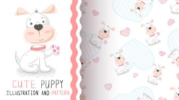 Hello cute puppy - seamless pattern
