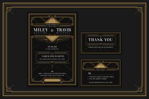 Klassieke Premium Art Deco verlovings / huwelijksuitnodiging