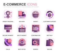 Modern Set E-Commerce and Shopping Gradient Flat Icons for Website and Mobile Apps. Contains such Icons as Delivery, Payment, Basket, Customer, Shop. Conceptual color flat icon. Vector pictogram pack.