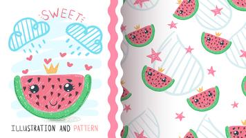 Princess watermelom fruit - seamless pattern. vector