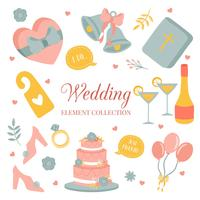 Hand drawn doodle Love Wedding Element Icon Set