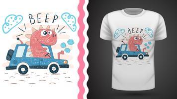 Dino med traktor - idé för tryckt t-shirt