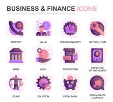 Modern Set Business and Finance Gradient Flat Icons for Website and Mobile Apps. Contains such Icons as Analysis, Money, Accounting, Strategy, Bank. Conceptual color flat icon. Vector pictogram pack.