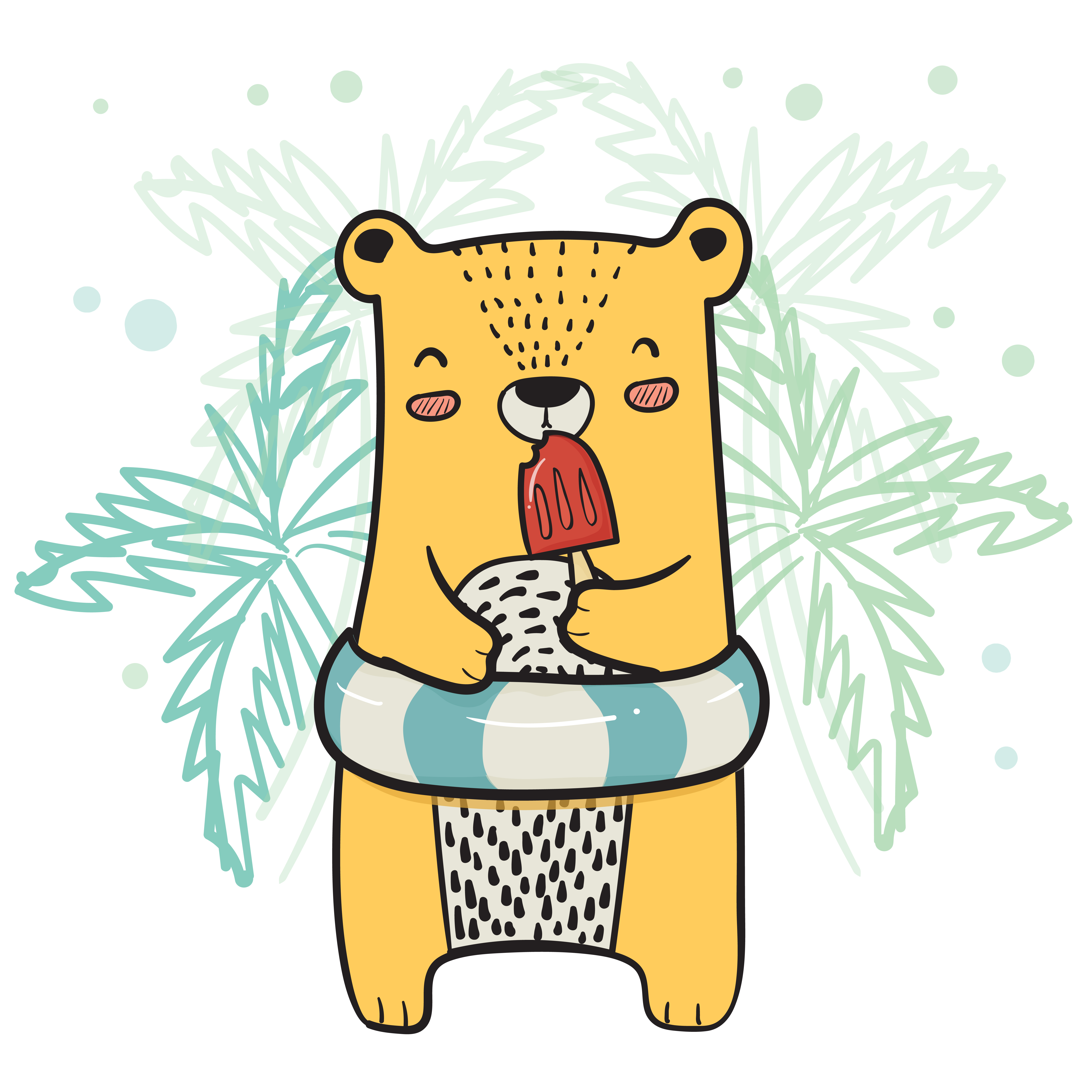 Desenho Cute Urso Amarelo Com Vida Anel Tendo Moranguinho