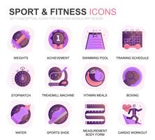 Set moderno icone piane di fitness e sport per applicazioni web e mobili. Contiene icone come Fit Body, Swimming, Fitness App, Supplementi. Icona piana di colore concettuale. Pacchetto di pittogrammi vettoriale.