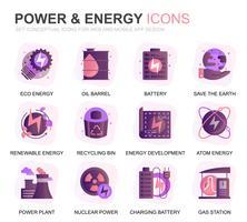 Moderno conjunto de la industria de la energía y los iconos planos de gradiente de energía para el sitio web y aplicaciones móviles. Contiene iconos como el panel solar, energía ecológica, planta de energía. Icono plano de color conceptual. Pack de pictog