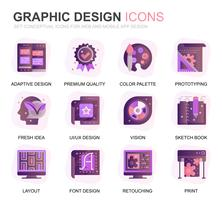 Modern Set Web and Graphic Design Gradient Flat Icons for Website and Mobile Apps. Contains such Icons as Studio, Tools, App Development, Retouching. Conceptual color flat icon. Vector pictogram pack.