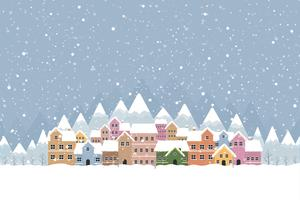 Winter town flat style with snow falling and mountain 001