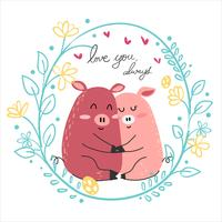 lindo dibujo pareja rosa cerdo amante abrazo juntos