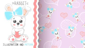 Cute rabbit with heart - seamless pattern