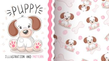 Cute dog, puppy - seamless pattern.