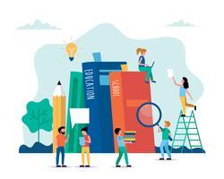 Ilustração em vetor conceito educação em estilo simples. Educação on-line, escola, universidade, idéias criativas.