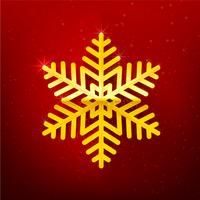 Snow flake with glittering over dark red background 002
