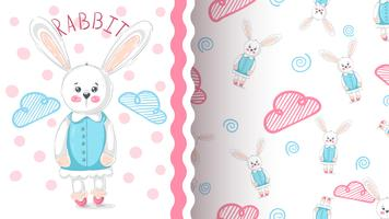 Little princess rabbit - seamless pattern
