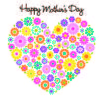 happy mother's day flower heart graphic