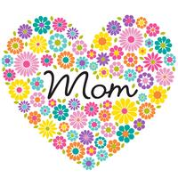 mother's day flower heart graphic