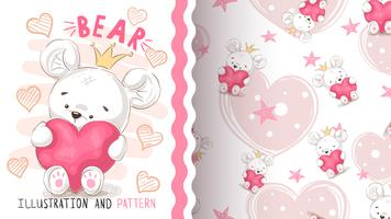 Bear with heart - seamless pattern.