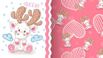 Cute winter deer - seamless pattern.