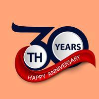 Symbole de célébration signe et logo 30e anniversaire avec ruban rouge