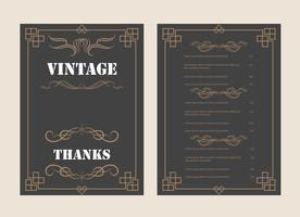 Vintage Ornament Greeting Card Vector Template