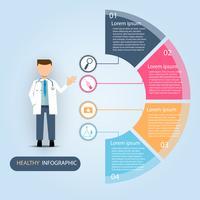 Presentación médica infografía, concepto como salud y bienestar. vector