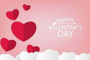 Fondo de arte de papel de San Valentín con corazón rojo y nube blanca