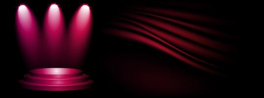 Stage and presentation of product with sport light on dark and pink showroom studio background