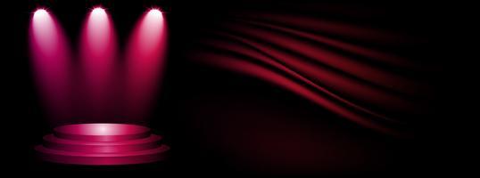 Escenario y presentación del producto con luz deportiva sobre fondo oscuro y rosado del estudio de exhibición.