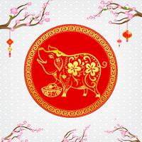 Arte contemporáneo chino moderno línea roja y dorada sonrisa cerdo 002