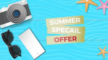 Creative illustration summer sale banner in paper cut style.